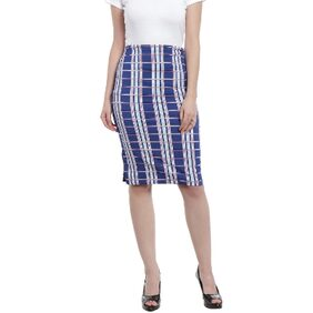 Zink London Blue Checkered Pencil Skirt for Women