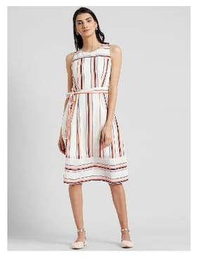 9d8cd02ea1 Zink London Linen Striped A-line Dress Pink