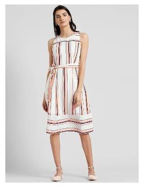 Zink London Blended Striped A-line Dress Pink