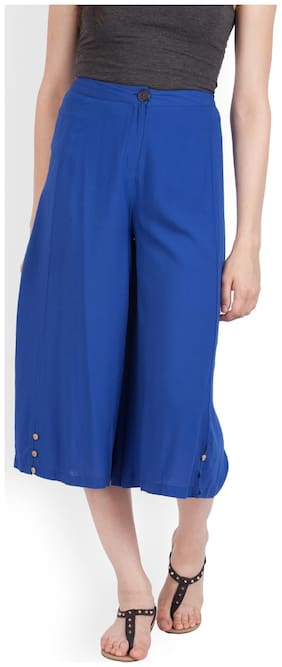 Zink London Women Regular fit Mid rise Solid Cullotes - Blue