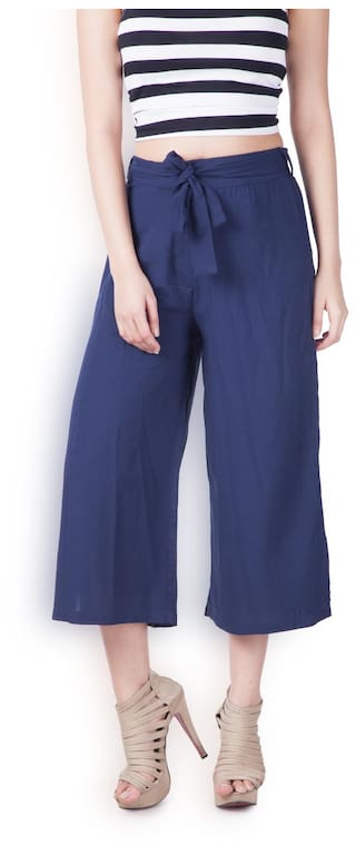 Blue Fit Relaxed London Culottes Women Zink Solid Loose qwa8Hggx