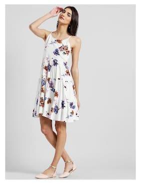 Zink London Cotton Floral A-line Dress White e46b78792
