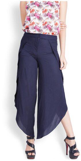 Zink London Women Blue Flared Solid Regular Trousers