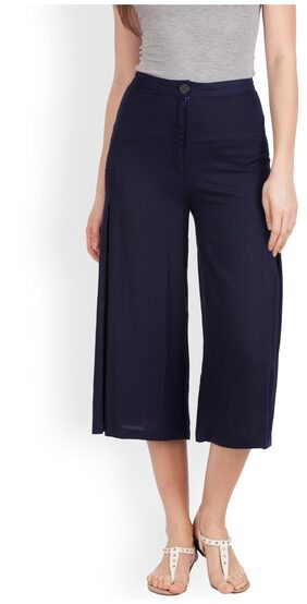 Zink London Blue Solid Relaxed Culotte Pant for Women