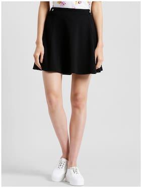Zink London Solid A-line Skirt Midi Skirt - Black