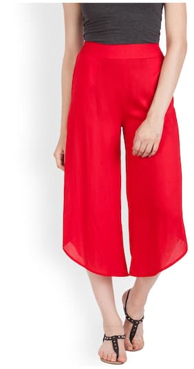 Zink London Women Regular Fit Mid Rise Solid Pants - Red