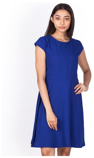 Zink London Blue Solid Fit And Flare Dress for Women