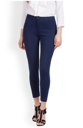 Zink London Blue Solid Skinny Pant for Women
