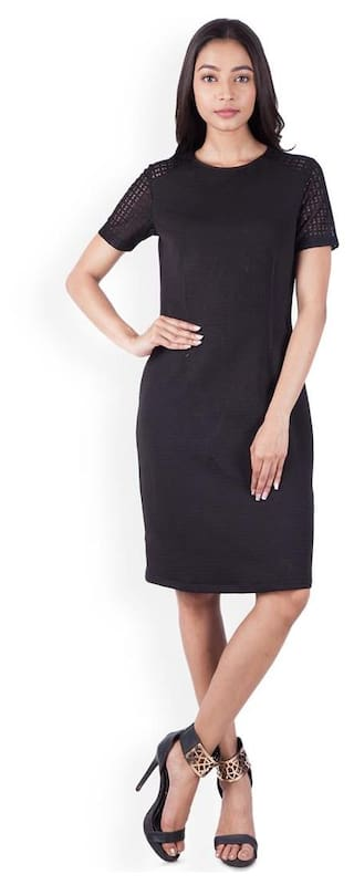Zink London Black Solid A-Line Dress for Women