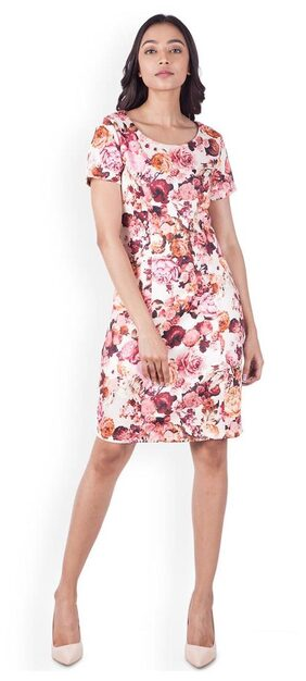 Zink London White Printed A-Line Dress for Women