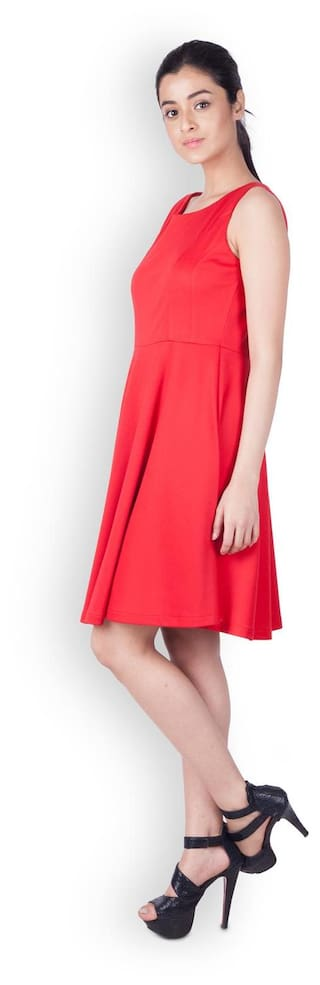 Zink London Red Solid Fit And Flare Dress for Women