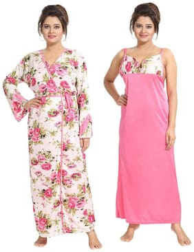 Women Floral Nightdress ,Pack Of 2