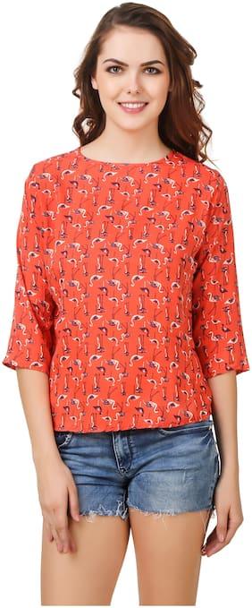 ZISAAN Women Printed Regular top - Orange