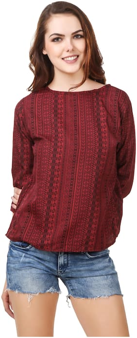 ZISAAN Women Printed Regular top - Maroon