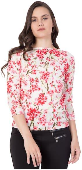 ZISAAN Women Floral Regular top - Pink & White