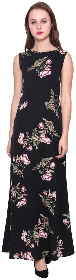 ZISAAN Black Floral Maxi dress