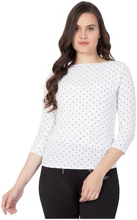 ZISAAN Women Crepe Polka dots - Regular top White