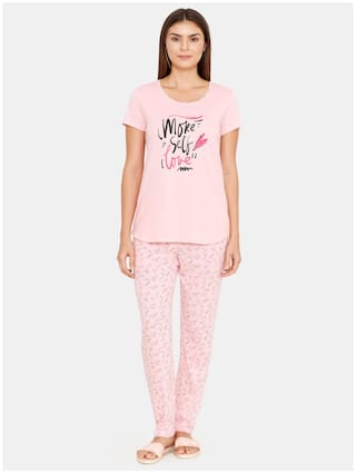 Zivame Women Cotton Printed Top and Pyjama Set - Pink
