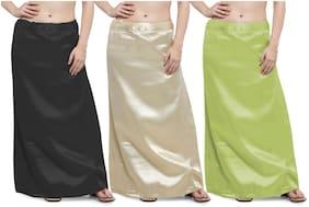 Ziya Combo Of Black Khaki Light Mehendi Premium Satin Petticoat With Attached Cotton Inner