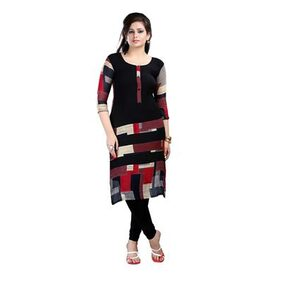 Ziyaa Black Colored 3/4th Sleeve And Round Neck Faux Crepe Kurti