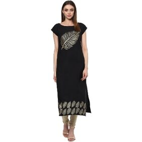 Ziyaa Black Colour Foil Print Crepe Casual Kurti