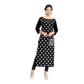 Ziyaa Black Color Digital Print Crepe Kurti