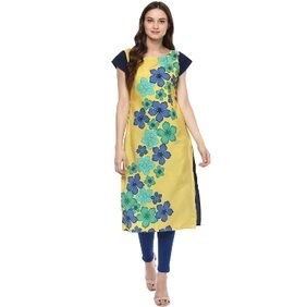 Ziyaa Casual Wear Multicoloured Digital Print Crepe Kurti