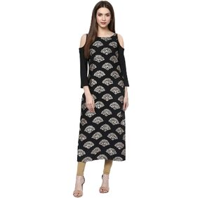 Ziyaa Casual Wear Black Colour Cold Shoulder Foil Print Crepe Kurti