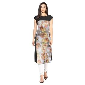 ZIYAA Multi Colored Half Sleeve And Round Neck Digital Kurti