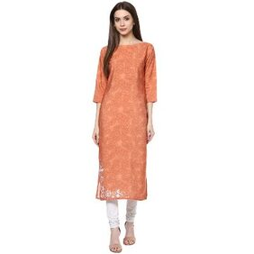 Ziyaa Orange Colour Digital Print Crepe Casual Kurti