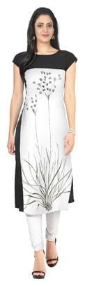 ZIYAA Women Crepe Printed Straight Kurta - White
