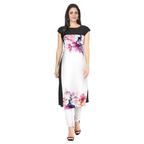 ZIYAA White Color Half Sleeve AndBoat Neck Faux Crepe Kurti