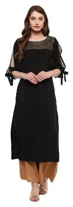 ZIYAA Women Black Solid Straight Kurta