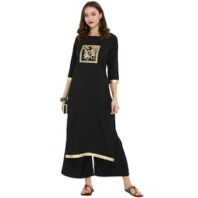 1db8d657c2c Ziyaa women Black color Straight Gold Foil Kurta Palazzo set