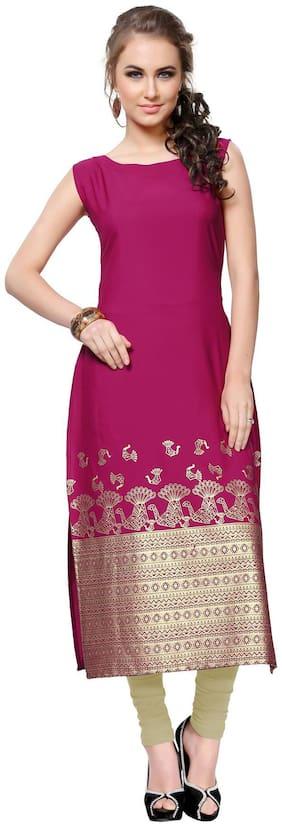 ZIYAA Women Crepe Printed Straight Kurta - Pink