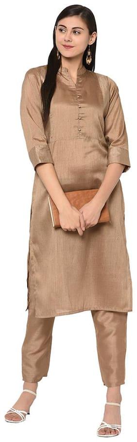 Ziyaa Women Brown Color Straight Copper Print Kurta Pant Set