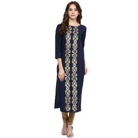 Ziyaa Women's Blue Foil Print Crepe Kurti
