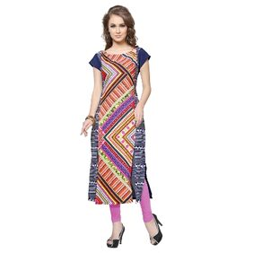 Ziyaa Women's Multicolor Digital Print Crepe Kurti