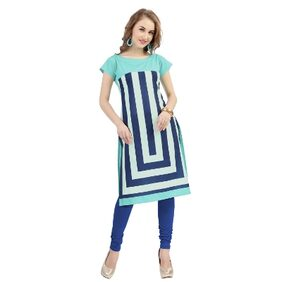 Ziyaa Women's Blue Digital Print Crepe Kurti