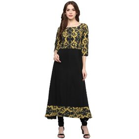 Ziyaa Women's Black Digital Print Crepe Kurti