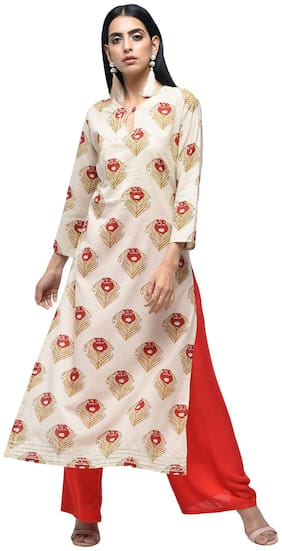zoeyam's Womens Multicolored Cotton Printed Long Straight Kurti With Cotton Palazzo