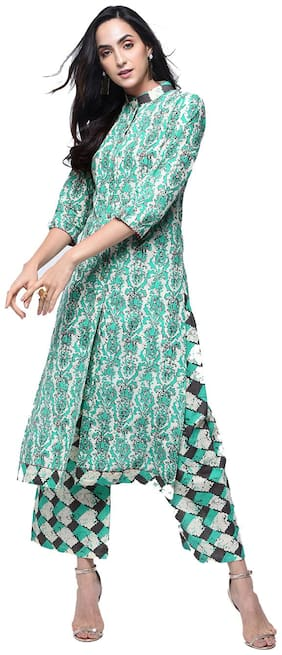 zoeyam's Womens Multicolored Cotton Printed Long Straight Kurta With Cotton Palazzo