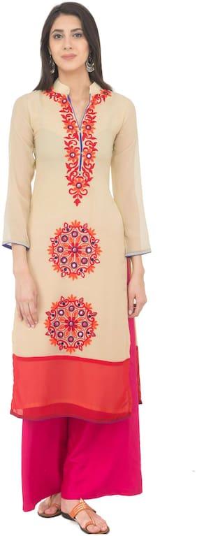 Women Embroidered Straight Kurti