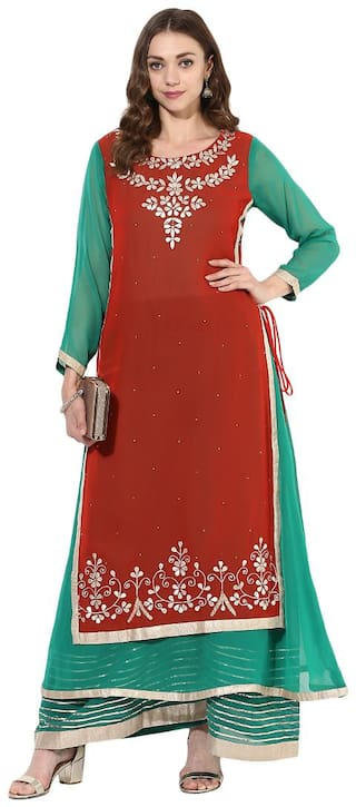 Zoeyam's Women Multi Embroidered Straight Kurta