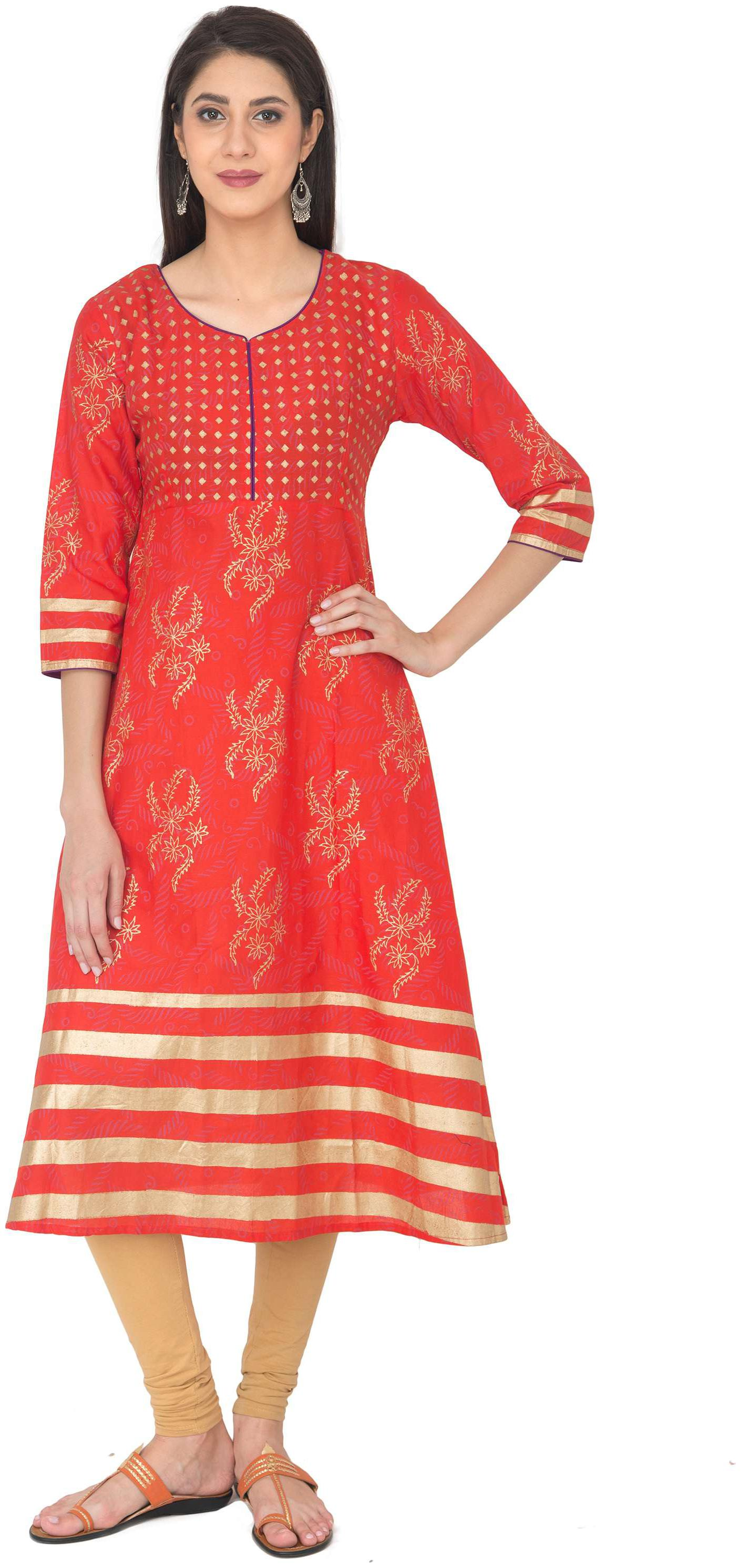 Zoeyam's Women Red Printed Anarkali Kurta by Zoeyams