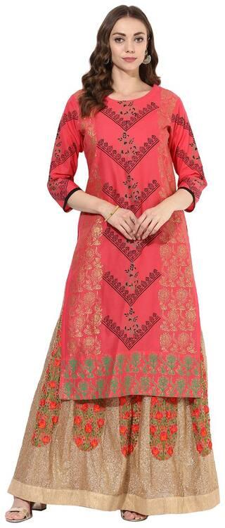 Zoeyam's Women Red Printed Regular Kurta