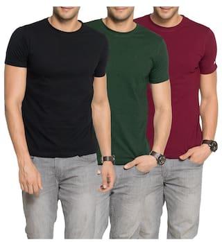 7173c43a4c2 Buy Zorchee Men s Round Neck Half Sleeve Cotton Plain T-Shirts (Pack ...