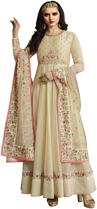 Zoro Silk Blend Cream Kurta with Bottom & Dupatta  For women