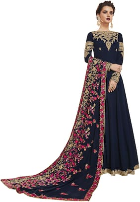 Zoro Women Navy Blue Color Silk Fabric Embroidery Anarkali Style Kurta With Bottom & Dupatta Suit