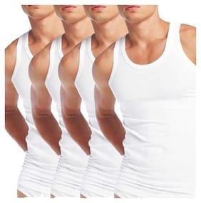 ZOTIC 4 Sleeveless Round Neck Men Vest - White
